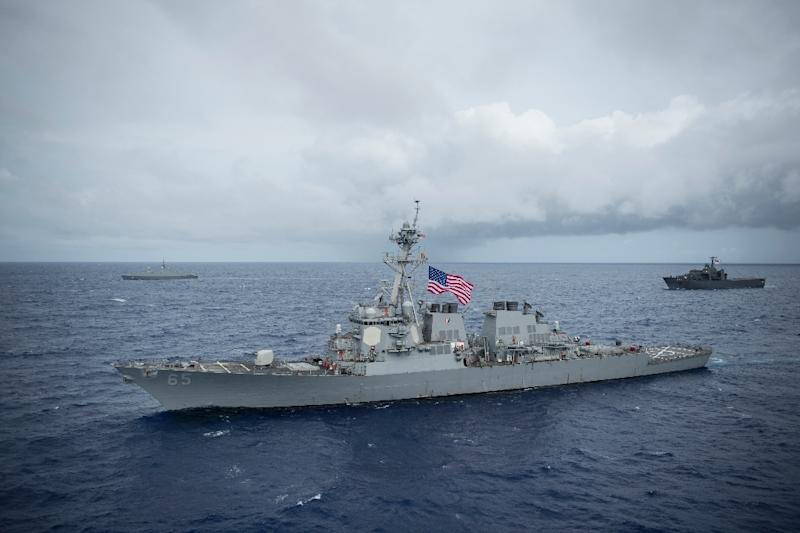 The Arleigh Burke-class guided-missile destroyer USS Benfold is one of two warships to have entered the Taiwan Strait