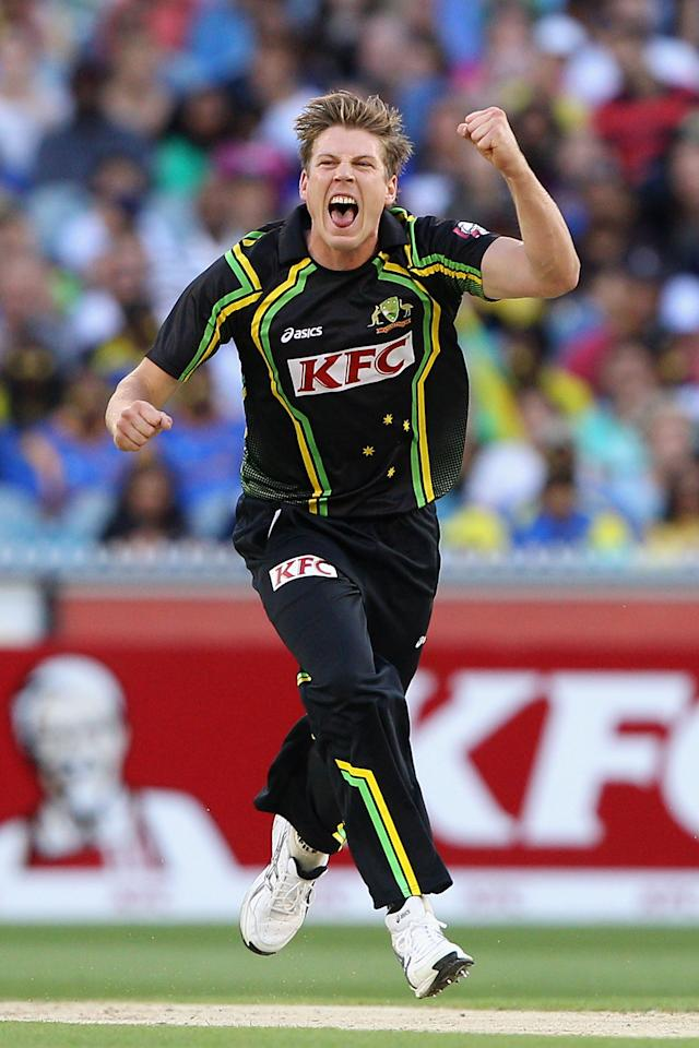 MELBOURNE, AUSTRALIA - JANUARY 28:  James Faulkner of Australia celebrates the wicket of Tillakaratne Dilshan of Sri Lanka during game two of the Twenty20 International series between Australia and Sri Lanka at Melbourne Cricket Ground on January 28, 2013 in Melbourne, Australia.  (Photo by Robert Prezioso/Getty Images)