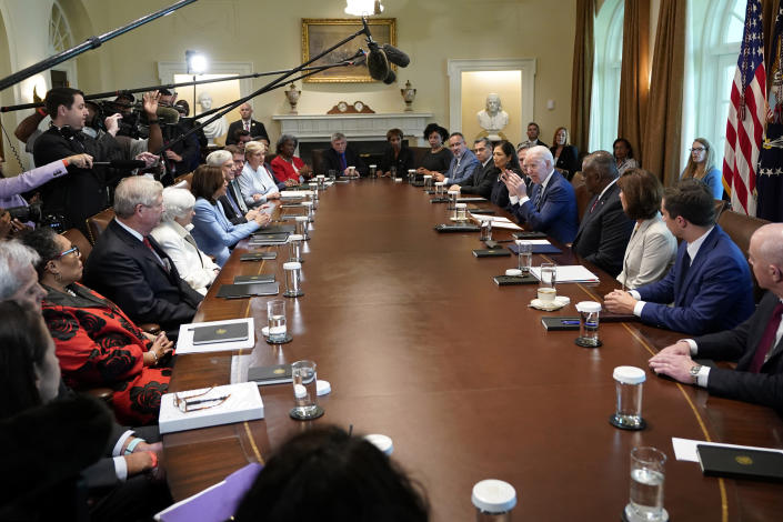 President Joe Biden speaks during a meeting with his Cabinet in the Cabinet Room at the White House in Washington, Tuesday, July 20, 2021. (AP Photo/Susan Walsh)