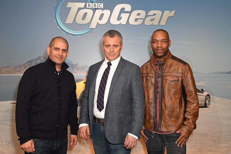 Matt LeBlanc, Chris Harris, Rory Reid, The Stig and Aurora Mulligan at the Top Gear preview launch of series 25 in London, England. (KGC-143/STAR MAX/IPx)