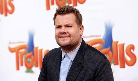"Cast member Corden poses at the premiere of ""Trolls"" in Los Angeles"