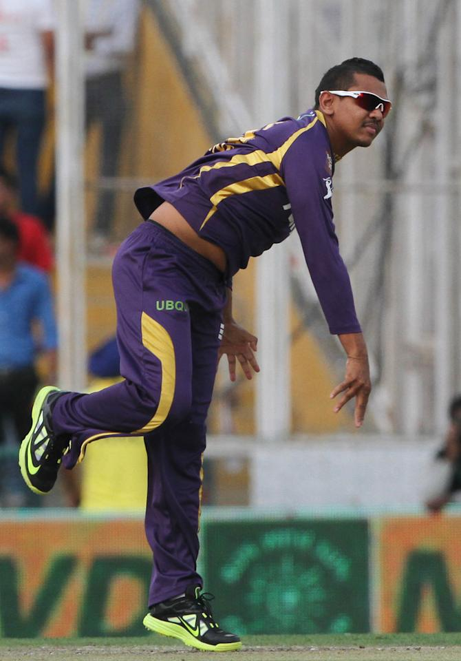 Kolkatta Knight Riders player Sunil Narine during match 20 of the Pepsi Indian Premier League between The Kings XI Punjab and the Kolkata Knight Riders held at the PCA Stadium, Mohal, India  on the 16th April 2013..Photo by Deepak Malik-IPL-SPORTZPICS   ..Use of this image is subject to the terms and conditions as outlined by the BCCI. These terms can be found by following this link:..https://ec.yimg.com/ec?url=http%3a%2f%2fwww.sportzpics.co.za%2fimage%2fI0000SoRagM2cIEc&t=1498282584&sig=DEUki.bgAeHZ8OI1czkC9g--~C