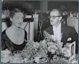<p>Davis and her third husband, artist William Grant Sherry, attend a banquet during the 1940s. The couple were married in 1945 and divorced in 1950.</p>