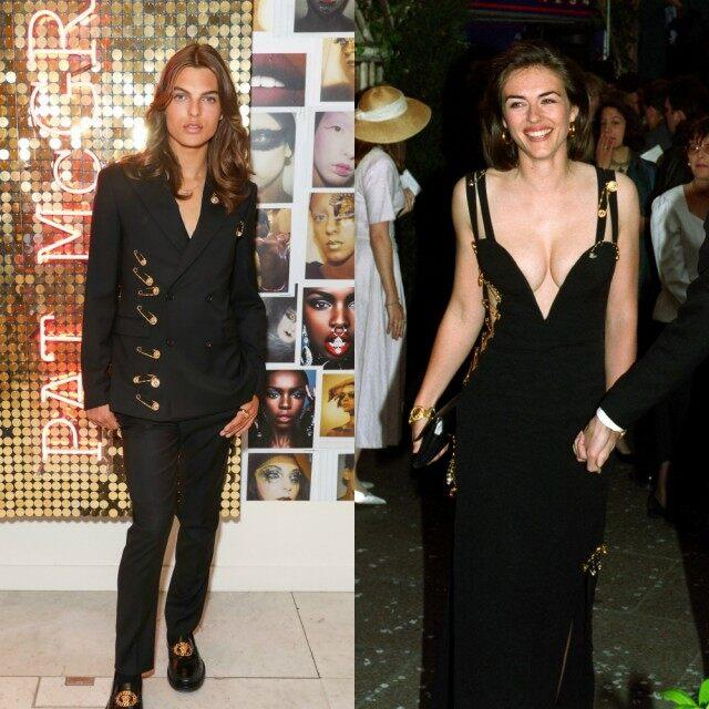 Liz Hurley's son Damian riffs on mother's Versace safety pin dress