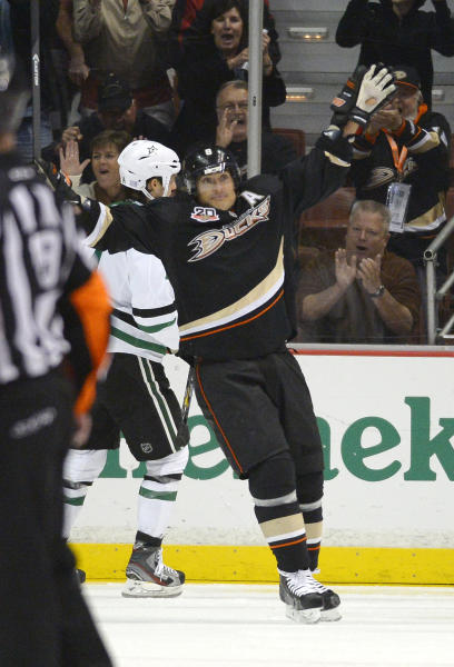 Anaheim Ducks right wing Teemu Selanne celebrates his goal during the first period of their NHL hockey game against the Dallas Stars, Sunday, Oct. 20, 2013, in Anaheim, Calif. (AP Photo/Mark J. Terrill)
