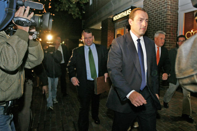 Rep. Vito Fossella, R-N.Y., right, exits court with his defense team on on Oct. 17, 2008, after his trial on drunk driving charges in Alexandria, Va. (AP Photo/Jacquelyn Martin)