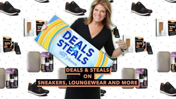 PHOTO: Deals & Steals on sneakers, loungewear and more (ABC News Photo Illustration, Essence One, Vionic, KT Tape)
