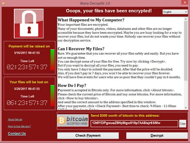 This is the screen you'll see if your computer is infected with the WannaCry 2.0 ransomware.