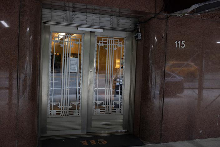 A fancy doorway of a New York City apartment.