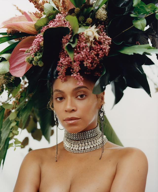 Beyoncé was all about the headwear for the photo session with 23-year-old Tyler Mitchell, the first African-American to ever shoot a cover for <em>Vogue</em>. (Photo: Tyler Mitchell/Vogue)