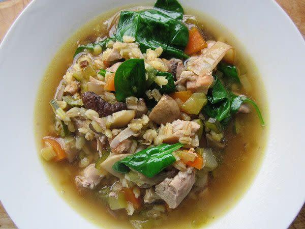 "<strong>Get the <a href=""http://food52.com/recipes/12116-mushroom-barley-chicken-soup"" rel=""nofollow noopener"" target=""_blank"" data-ylk=""slk:Mushroom, Barley & Chicken Soup recipe from Food52"" class=""link rapid-noclick-resp"">Mushroom, Barley & Chicken Soup recipe from Food52</a></strong>"