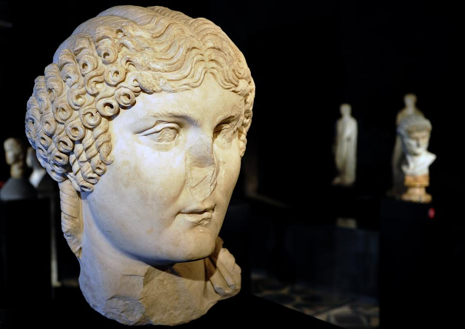 The statue of Roman Emperor Nero is pictured at the exibition