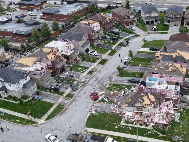 Barrie police confirmed the tornado that touched down on Thursday afternoon damaged 25 buildings. (Grant Linton/CBC - image credit)