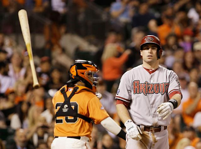 Arizona Diamondbacks' Paul Goldschmidt tosses his bat after striking out on a foul tip against San Francisco Giants starting pitcher Yusmeiro Petit in the fourth inning of their baseball game, Friday, Sept. 6, 2013, in San Francisco. (AP Photo/Eric Risberg)