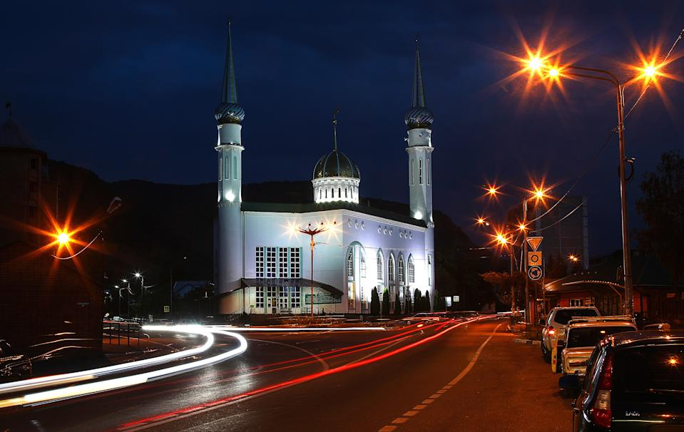 KARACHAYEVSK, KARACHAY-CHERKESSIA, RUSSIA - JULY 31, 2020: A view of the Jumah Mosque on the first day of Eid al-Adha, also known as the Feast of the Sacrifice. Valery Sharifulin/TASS (Photo by Valery Sharifulin\TASS via Getty Images)