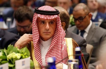 Saudi Foreign Minister Adel Al-Jubeir attends a gathering of foreign ministers aligned toward the defeat of Islamic State in Washington