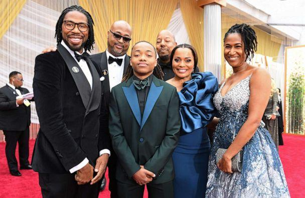 PHOTO: Texas teen Deandre Arnold (C) poses with filmmakers of 'Hair Love' at the 92nd Oscars at the Dolby Theatre in Hollywood, California on February 9, 2020. (Valerie Macon/AFP via Getty Images)