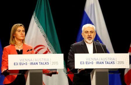 FILE PHOTO: Iranian FM Zarif addresses during a joint news conference with High Representative of the European Union for Foreign Affairs and Security Policy Mogherini after a plenary session at the United Nations building in Vienna