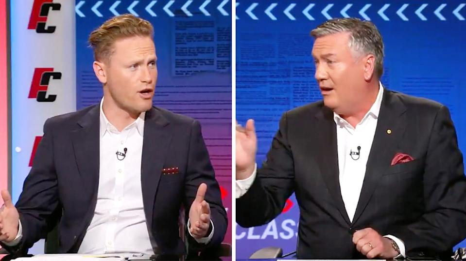 Eddie McGuire (pictured right) pointing and arguing with Footy Classified host Sam McLure (pictured left) on TV.