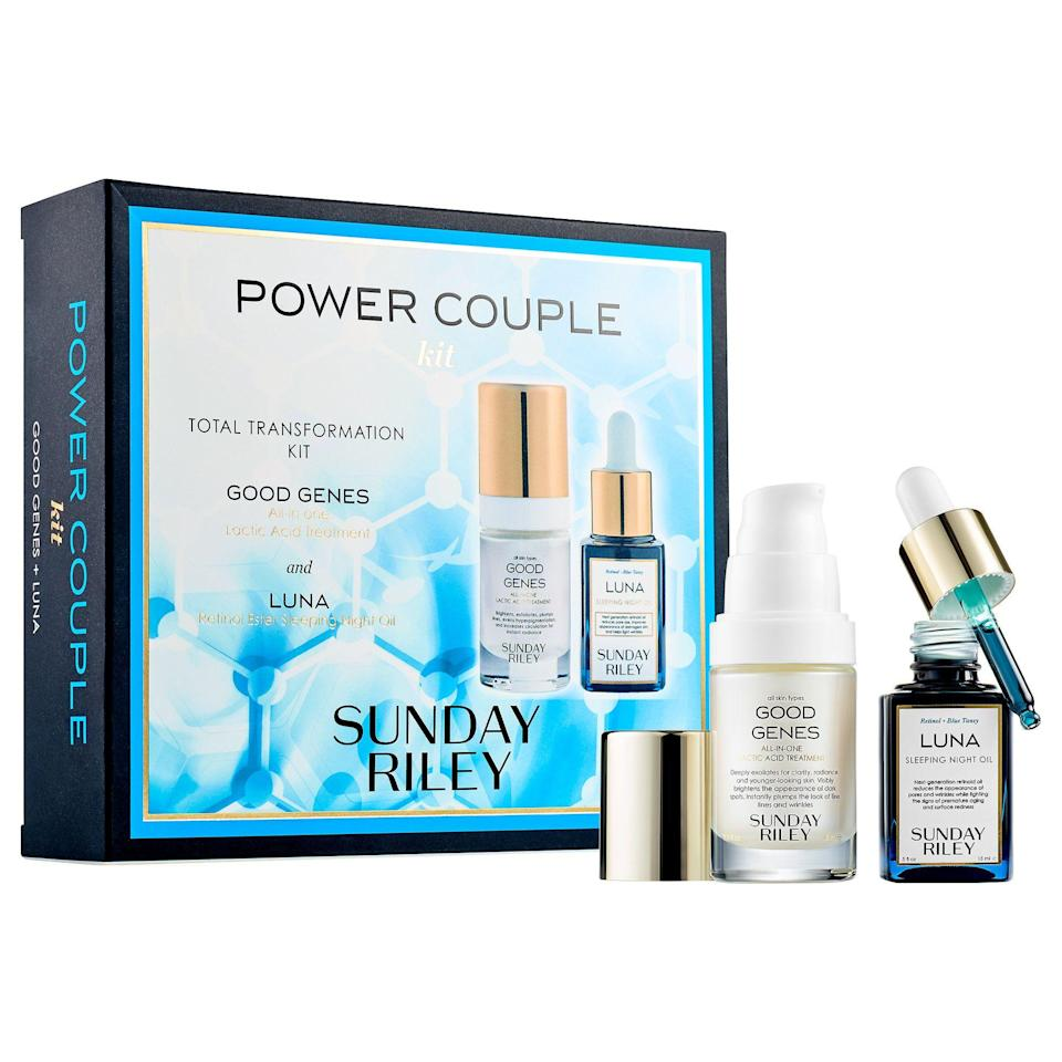 "<p><strong>SUNDAY RILEY</strong></p><p>sephora.com</p><p><strong>$72.00</strong></p><p><a href=""https://go.redirectingat.com?id=74968X1596630&url=https%3A%2F%2Fwww.sephora.com%2Fproduct%2Fpower-couple-lactic-acid-retinol-kit-P402718&sref=https%3A%2F%2Fwww.redbookmag.com%2Fbeauty%2Fg34587516%2Fsephora-beauty-gifts%2F"" rel=""nofollow noopener"" target=""_blank"" data-ylk=""slk:Shop Now"" class=""link rapid-noclick-resp"">Shop Now</a></p><p>Sunday Riley has a reputation for great skincare, and the brand truly delivers. This set includes two of their most popular products: Good Genes All-In-One Lactic Acid Treatment and Luna Retinol Sleeping Night Oil. Together, these two pack a punch for some serious anti-aging magic. </p>"