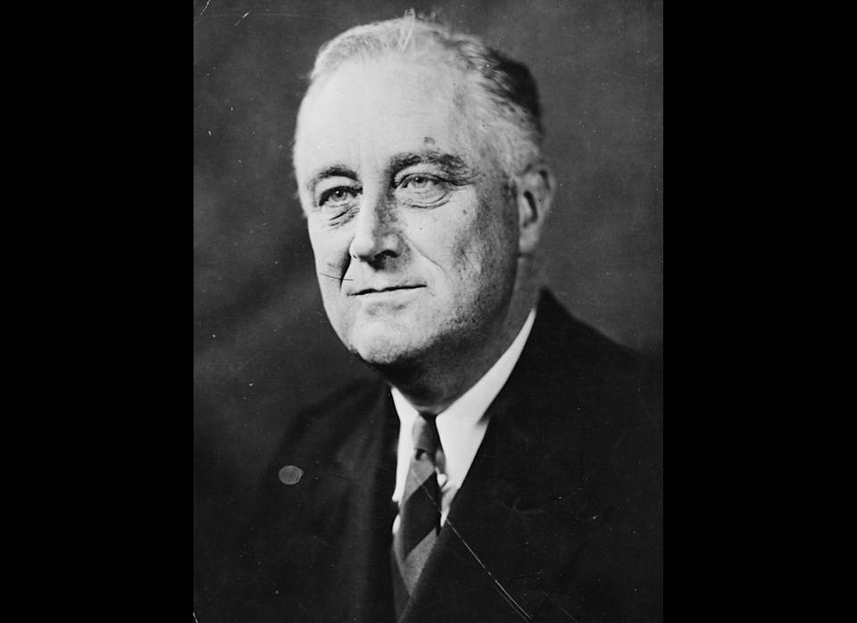 Roosevelt establishes wage and price controls during World War II. Businesses can't attract workers with higher pay so they compete through added benefits, including health insurance, which grows into a workplace perk.