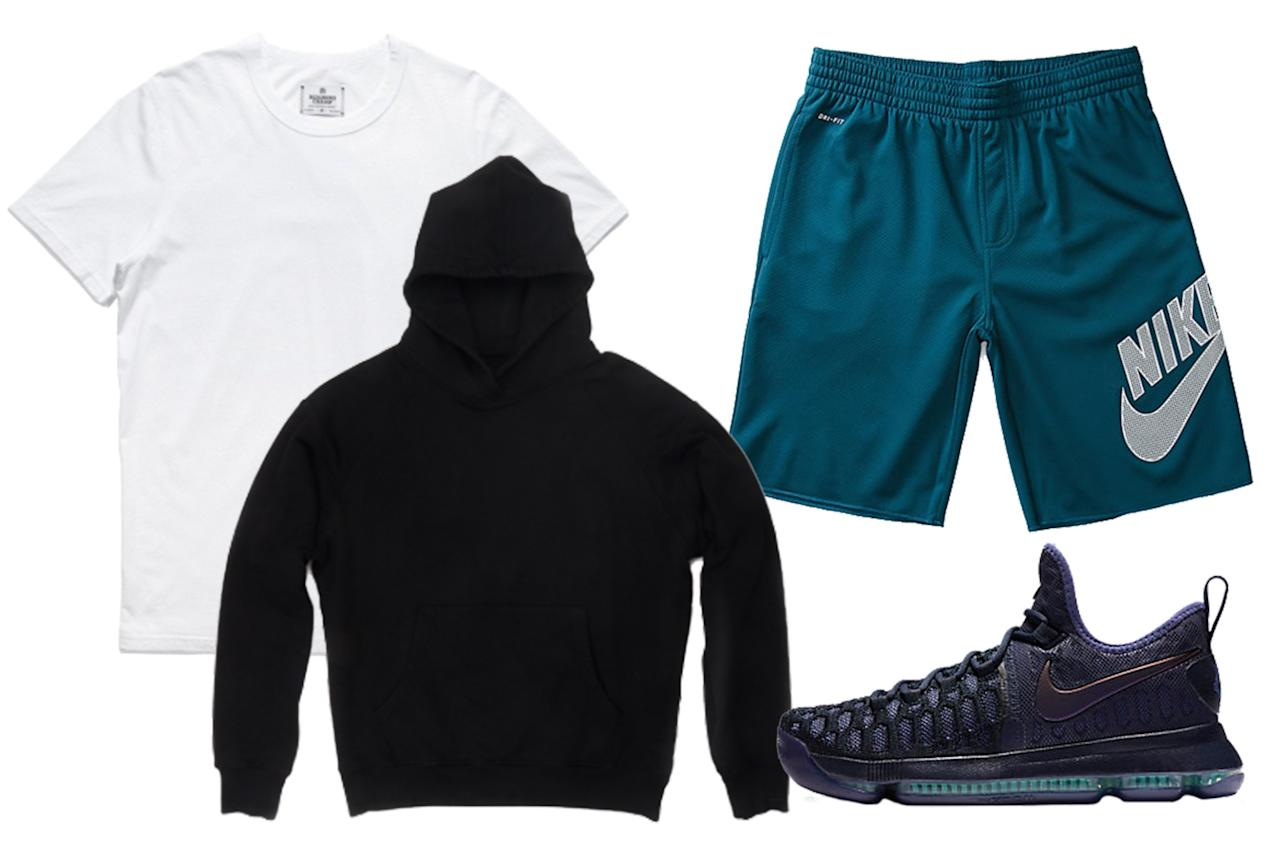 """<p>Skip down-to-there mesh shorts in favor of a pair that hits you at the knee. On top, it doesn't get more classic and cool than black and white.</p><p><em>Dusk Seventy-One Hooded Sweatshirt, $225, available at <a rel=""""nofollow"""" href=""""https://shopdusk.com/products/seventy-one-hooded-sweatshirt-black?mbid=synd_yahoostyle"""">shopdusk.com</a>; Reigning Champ T-Shirt, $52, available at <a rel=""""nofollow"""" href=""""https://shop.reigningchamp.com/collections/tops/products/ss-set-in-tee-white?mbid=synd_yahoostyle"""">reigningchamp.com</a>; Nike SB Dry-Fit Mesh Shorts, $40, available at <a rel=""""nofollow"""" href=""""http://www.pacsun.com/nike-sb/dri-fit-sunday-active-shorts-3419629.html?mbid=synd_yahoostyle"""">pacsun.com</a>; Nike Zoom KD 9 Sneakers, $150, available at <a rel=""""nofollow"""" href=""""http://store.nike.com/us/en_us/pd/zoom-kd-9-mens-basketball-shoe/pid-11156113/pgid-11139446?mbid=synd_yahoostyle"""">nike.com</a></em></p>"""