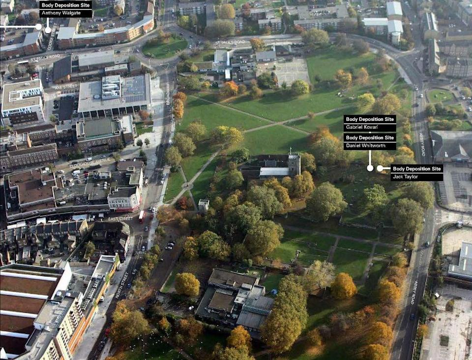 An aerial image issued by the Metropolitan Police shows the area where bodies were found (Met Police/PA) (PA Media)