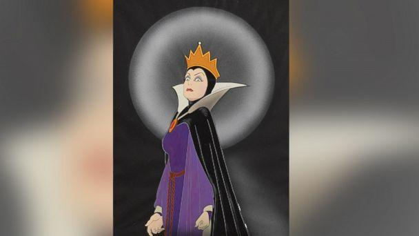 PHOTO: A celluloid of the Queen from 'Snow White and the Seven Dwarfs,' Walt Disney Studios, 1937. Made with gouache on trimmed celluloid, applied to a Courvoisier watercolor paper background, matted and framed. Estimate: $10,000-15,000. (Walt Disney Studios )