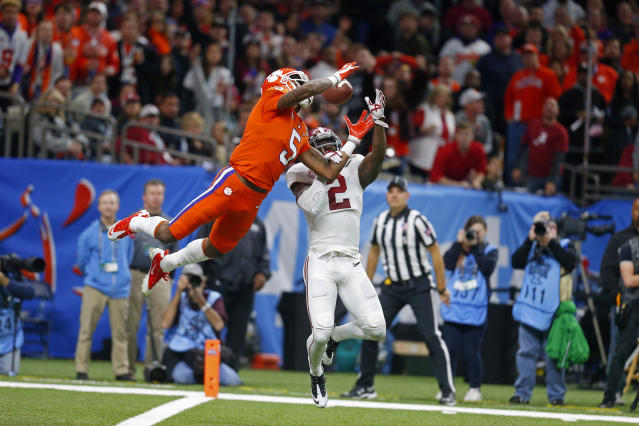 Clemson wide receiver Tee Higgins (5) could be a breakout performer in 2018. (AP Photo/Butch Dill)