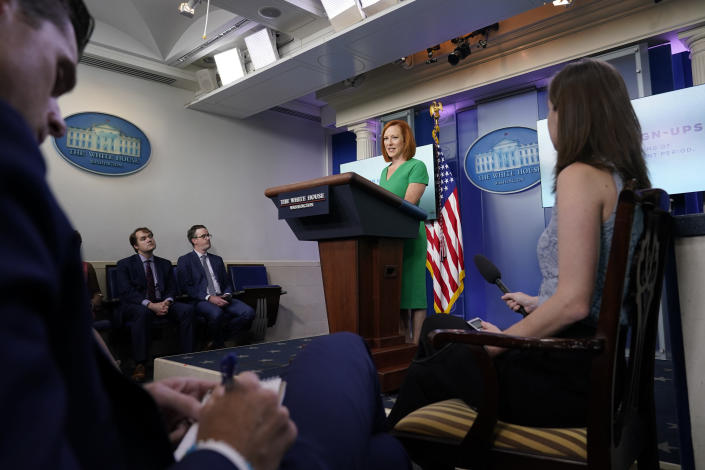 White House press secretary Jen Psaki speaks during the daily briefing at the White House in Washington, Friday, July 16, 2021. (AP Photo/Susan Walsh)