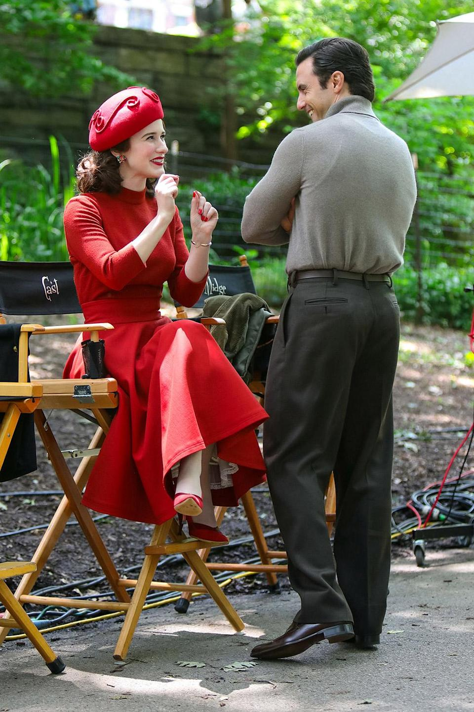 <p>The pair shared a laugh between takes on June 10. </p>