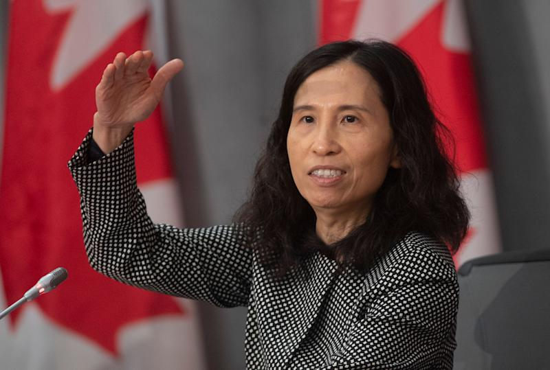 Chief Public Health Officer Theresa Tam gestures as she talks about the pandemic curve during a news conference in Ottawa on Friday. (Photo: THE CANADIAN PRESS)