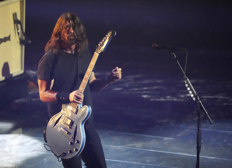 Dave Grohl of the Foo Fighters performs at the MTV Video Music Awards at Barclays Center on Sunday, Sept. 12, 2021, in New York. (Photo by Charles Sykes/Invision/AP)