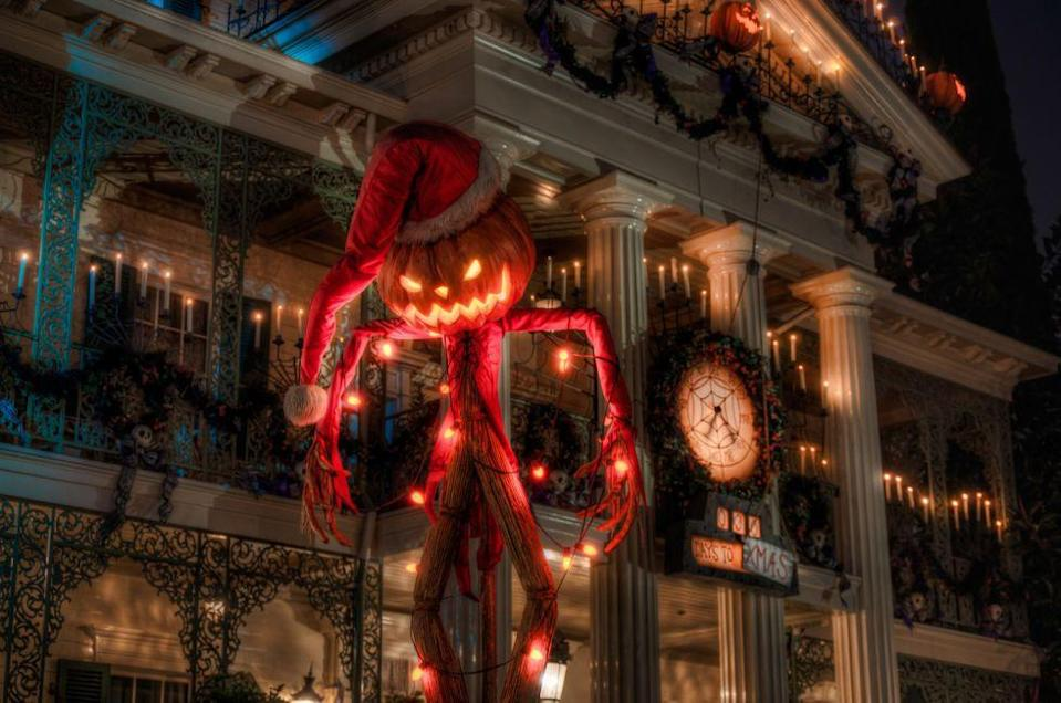 """<p>Disney's first <a href=""""https://www.countryliving.com/life/travel/g2709/disney-haunted-mansion-facts/"""" rel=""""nofollow noopener"""" target=""""_blank"""" data-ylk=""""slk:Haunted Mansion"""" class=""""link rapid-noclick-resp"""">Haunted Mansion</a> opened at Disneyland on August 9, 1969. In 2001, Disneyland launched the Haunted Mansion Holiday; from late September to early January, characters and holiday adornments inspired by Tim Burton's <em>The</em> <em>Nightmare Before Christmas</em> are added to the attraction.</p>"""