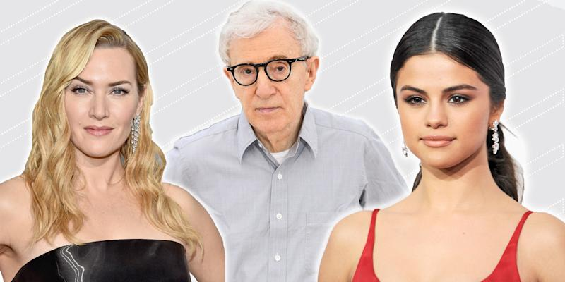 From left, Kate Winslet, Woody Allen, and Selena Gomez