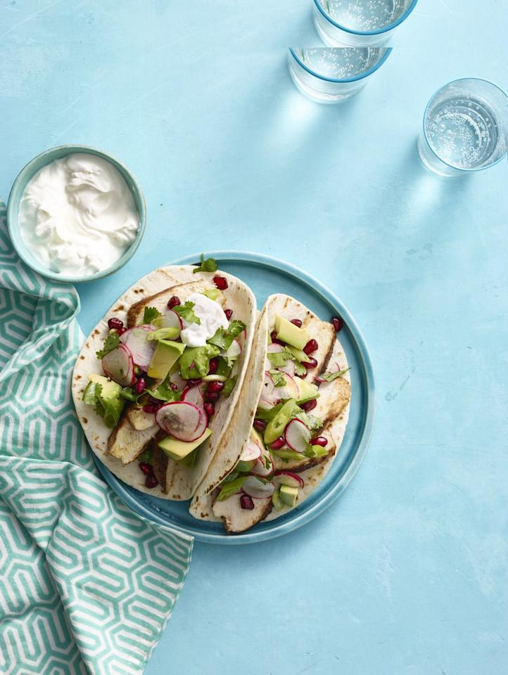 """<p>Avocado is packed with monounsaturated fats that help reduce inflammation and will help you feel fuller longer.</p><p><a rel=""""nofollow"""" href=""""https://www.womansday.com/food-recipes/food-drinks/recipes/a13250/spiced-chicken-tacos-avocado-pomegranate-salsa-recipe-wdy0315/""""><strong>Get the recipe.</strong></a></p>"""