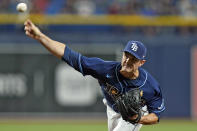 Tampa Bay Rays pitcher David Robertson delivers to the Boston Red Sox during the eighth inning of a baseball game Wednesday, Sept. 1, 2021, in St. Petersburg, Fla. (AP Photo/Chris O'Meara)