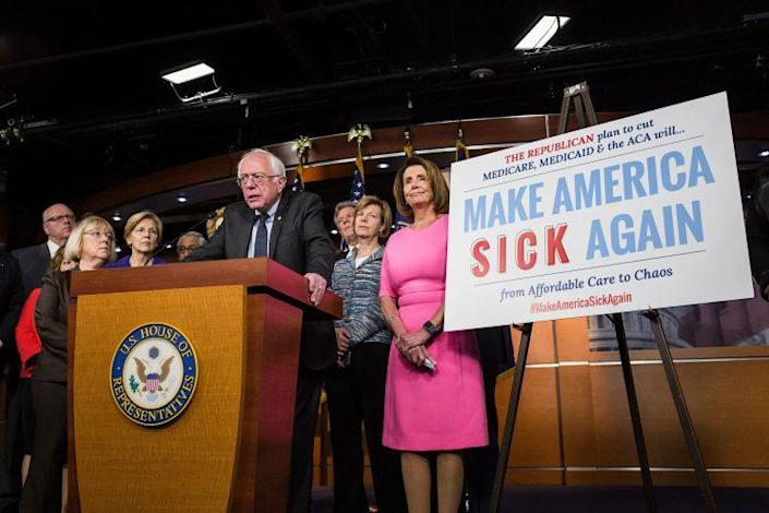 Sen. Bernie Sanders, I-Vt., at a press conference discussing Republican attempts to dismantle Medicare, Medicaid and the Affordable Care Act on Capitol Hill Jan. 4, 2017, in Washington, D.C. (Photo: Zach Gibson/AFP/Getty Images)