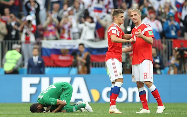 """Saudi Arabia's sports authority chief has lashed out at the national team after their 5-0 loss to hosts Russia, complaining in a video rant that they put in """"less than five per cent effort."""" Turki al-Sheikh apologised for the Saudi side's performance after their hammering in the World Cup's opening game at the Luzhniki Stadium on Thursday. The result was one of the worst for an opening match since Brazil beat Mexico 5-0 in Geneva in 1954. """"We've done everything we could for the national team players,"""" he said in the video, which was posted on his Twitter account and received more than 30,000 retweets. """"They've blackened my face. pic.twitter.com/EGZNsSPROw— تركي آل الشيخ (@Turki_alalshikh) June 14, 2018 """"We've been covering all their expenses for three years, we've hired the best coaching team and a world-class head coach for them, but they did not fulfil what was required of them even by five per cent. """"We must accept this reality, their abilities and capabilities are like that."""" He also personally apologised to Crown Prince Mohammed bin Salman, the heir to the Saudi throne, who sat watching the game with Russian President Vladimir Putin in his private box. Some commentators on his post said it would do little to boost the morale of the team, which still has a number of games to play to qualify for the quarter-finals. Sheikh, who is a member of the ruling royal family, also threatened legal action against BeIN Sports channel, whose commentating and broadcast of the match was very one-sided, he said, favouring Russia over Saudi Arabia. Supporters of the Saudi national soccer team leave after the match Credit: Reuters The channel is a spinoff of al-Jazeera Media Network, whose Qatari government owners have be subject to a year-long blockade by Riyadh. Juan Antonio Pizzi, Saudi Arabia's coach, described a """"feeling of shame"""". """"The opposing team really didn't have to make a huge effort to win this game,"""" he said after a one-sided showing that marked a dream start for the"""