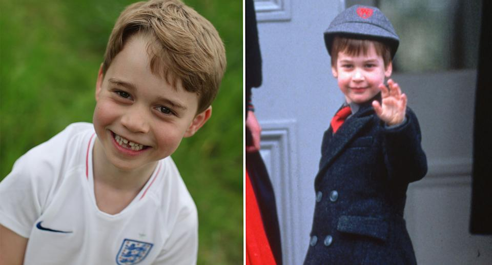 One of the photos to mark Prince George's sixth birthday, and Prince William, pictured in 1988, aged six. [Photos: Duchess of Cambridge/Getty]