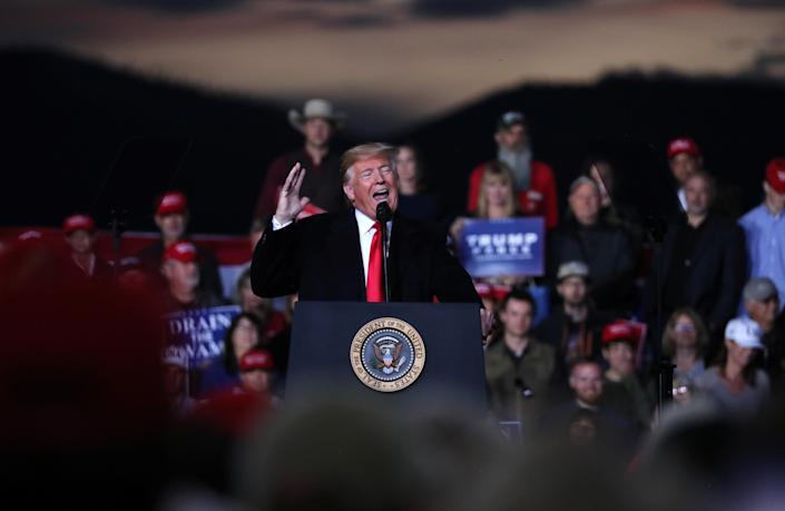 President Donald Trump speaks during a campaign rally at Missoula International Airport in Missoula, Mont., Oct. 18, 2018. (Photo: Jonathan Ernst/Reuters)