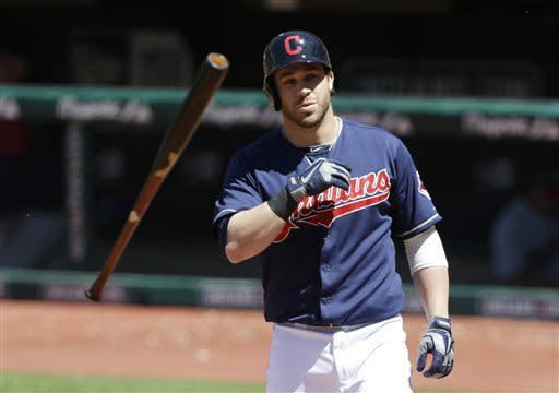 Cleveland Indians' Jason Kipnis throws the bat after striking out against Minnesota Twins starting pitcher Mike Pelfrey in the fifth inning of a baseball game on Sunday, May 5, 2013, in Cleveland. (AP Photo/Tony Dejak)