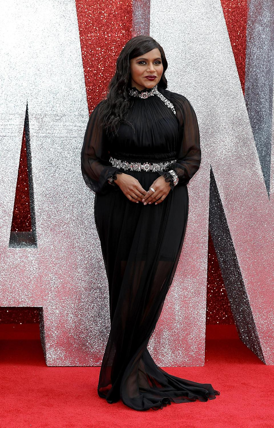 <p>Mindy picked out a black, fishtail dress by Prabal Gurung for the premiere. <em>[Photo: Getty]</em> </p>
