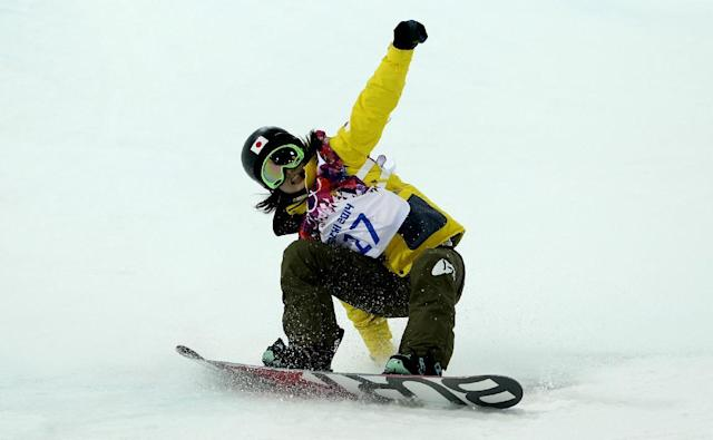 Japan's Rana Okada competes during the women's snowboard halfpipe final at the Rosa Khutor Extreme Park, at the 2014 Winter Olympics, Wednesday, Feb. 12, 2014, in Krasnaya Polyana, Russia. (AP Photo/Felipe Dana)