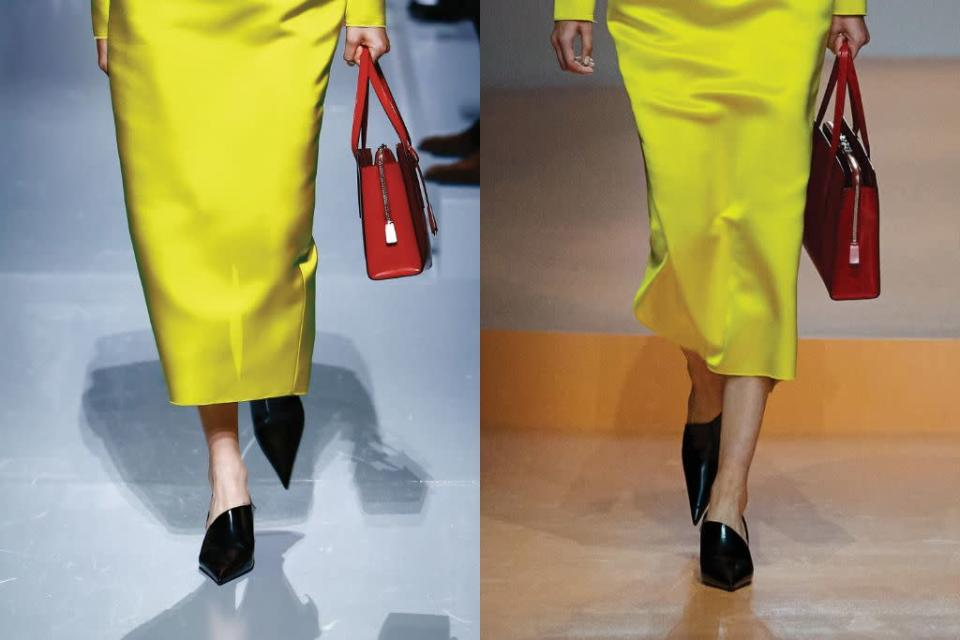 A closer look at Prada's asymmetrical and exaggerated pointed toe pumps for spring '22, paired with an electric yellow satin dress. - Credit: Courtesy of Prada