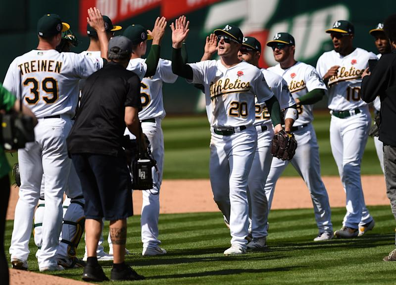 The A's are the hottest team in baseball, winning 10 straight games. (Photo by Cody Glenn/Icon Sportswire via Getty Images)