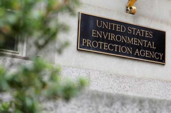 Signage is seen at the headquarters of the United States Environmental Protection Agency (EPA) in Washington, D.C.