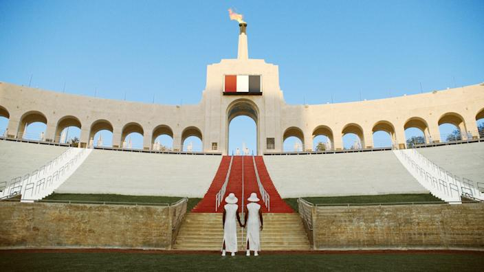 "As a backdrop for his collection, Thom Browne envisioned the Los Angeles Coliseum recreated on the surface of the moon for the 2132 Olympic Games. <span class=""copyright"">(Thom Browne)</span>"