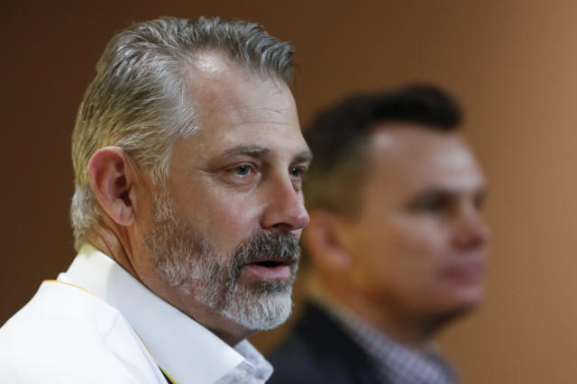 Derek Shelton, left, answers questions at a news conference beside general manager Ben Cherington after he was introduced as the new manager of the Pittsburgh Pirates baseball team , Wednesday, Dec. 4, 2019, in Pittsburgh. (AP Photo/Keith Srakocic)