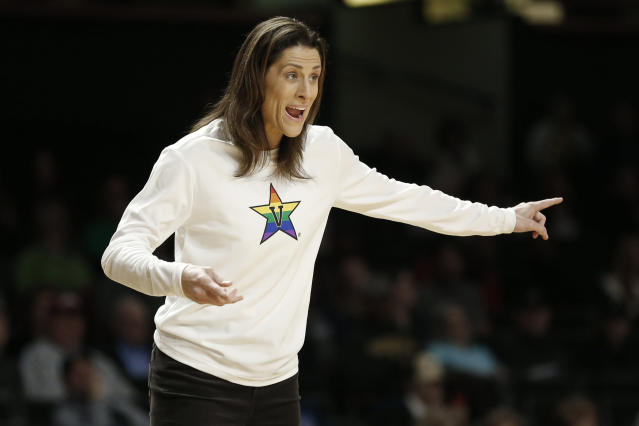 Vanderbilt head coach Stephanie White yells to her players in the first half of an NCAA college basketball game against South Carolina, Sunday, Jan. 12, 2020, in Nashville, Tenn. (AP Photo/Mark Humphrey)